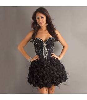 Black short ruffled unique dress