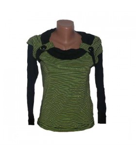Elastic green stripes blouse