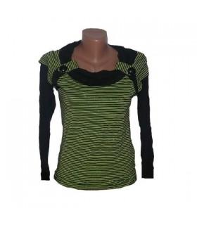 Elastische grünen Streifen Bluse