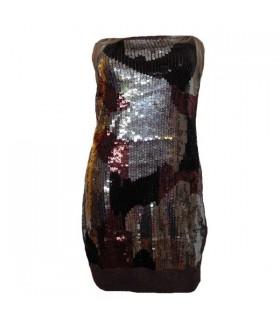 Robe de paillette embellie par étincelle noire
