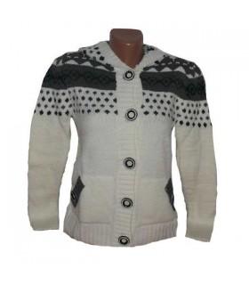 Weiß warmen Pullover mit Knöpfen