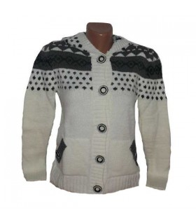 White warm sweater with buttons