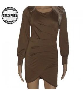 Modisches braunes langarm Kleid