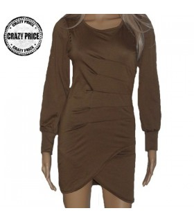 Robe fashion manches longues marron