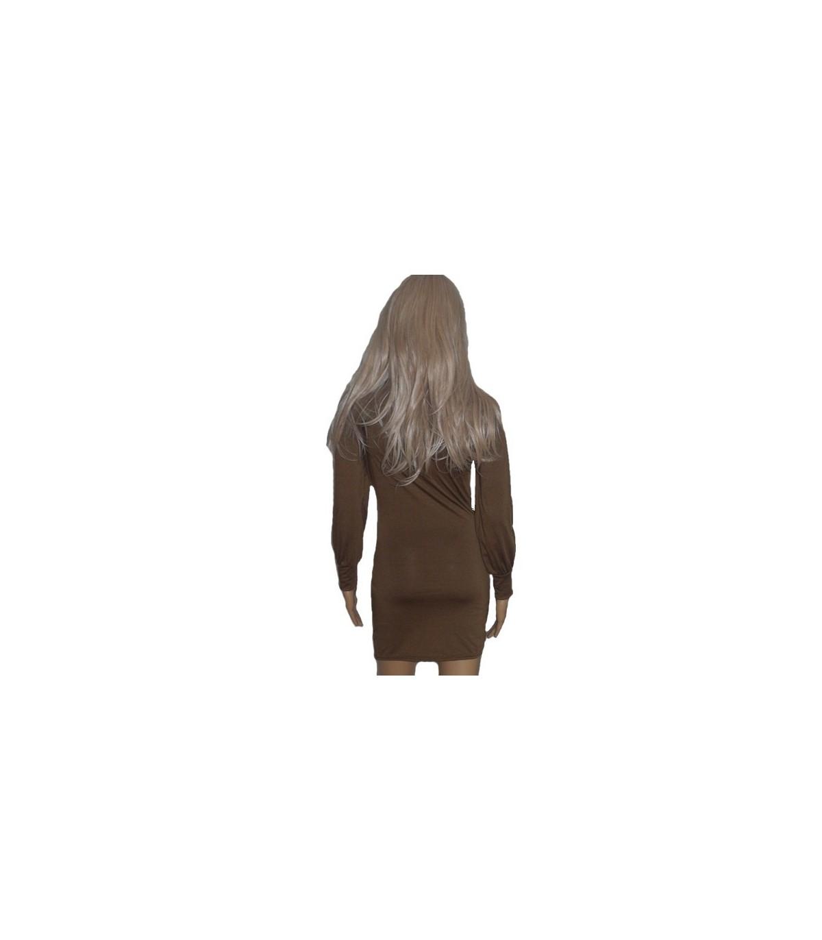 0a8f6ef24aa29d Braun Langarm Mode Kleid Farbe Braun