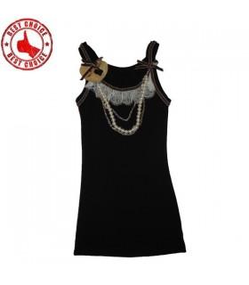 Haut orné de perles noires