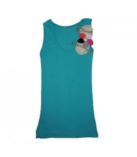 Fancy turquoise top embellished shoulder