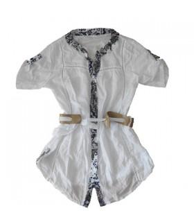 Tunica moda bianco con sciarpa