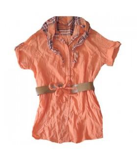 Tunica moda arancione con sciarpa