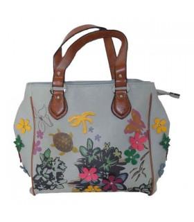 Graue Handtasche mit bunten Blumenmuster