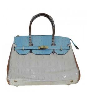 Beige Handtasche in Krokoprägung