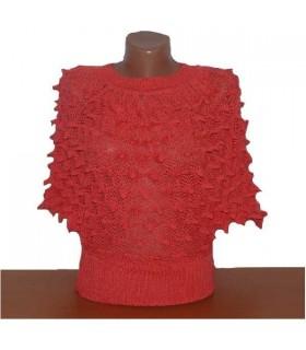 Cardigan en tricot corail