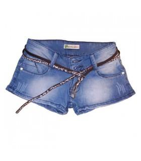 Kurze Jeans mit Leoparden Gürtel