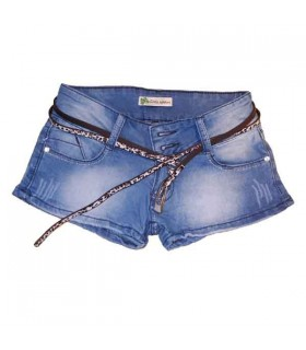 Short jeans leopard belt