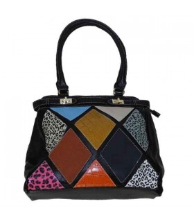 Fashion handbag with colored pattern