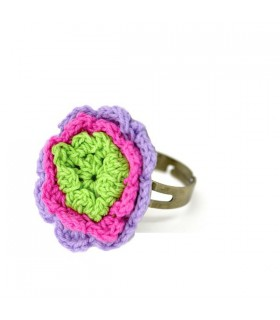 Green crochet flower ring