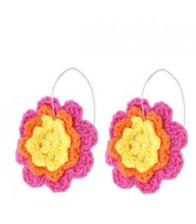 Fiore orecchini all'uncinetto rosa
