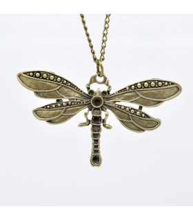 Collier libellule vintage bronze