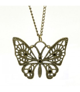 Collier papillon antique bronze