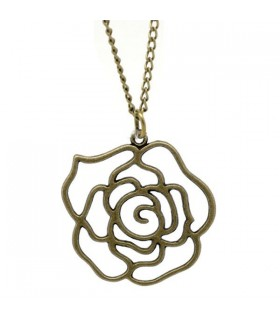 Bronze vintage rose necklace