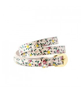 Flower embellished white skinny belt