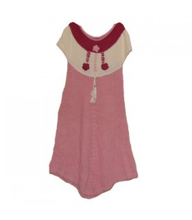 Knitted dress with pink flowers