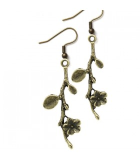 Bronze branch and flower earrings