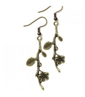 Bronze branche et fleurs boucles d'oreilles