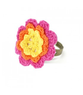 Yellow crochet flower ring