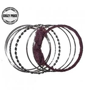 Bangles multi bracelets silver tone