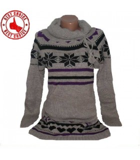 Maniche lunghe maglia cuori vestito