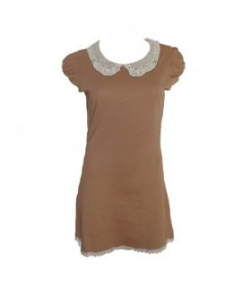 Cream retro embroid dress