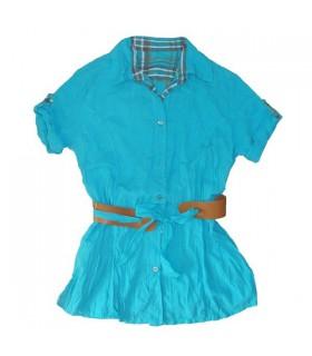 Tunique fashion turquoise avec écharpe