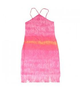 Pinkes gehäkeltes Kleid mit Blumenmuster