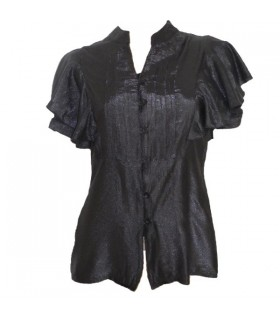 Black short flared sleeve shirt