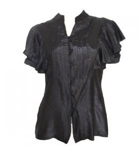 Noir chemise à manches courtes évasées