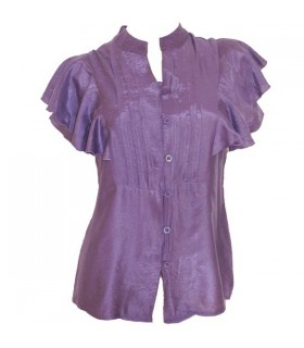 Purple short flared sleeve shirt