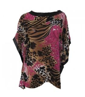 Animal print blouse en mousseline de soie