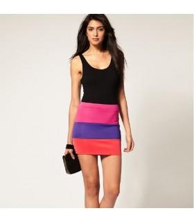 Gonna moda elastico arcobaleno