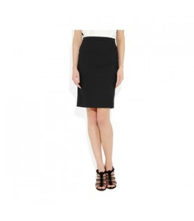 Lace-paneled black pencil skirt