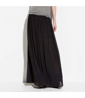 Maxi jupe de mousseline de soie noire