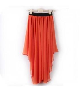 Elastic waist irregular chiffon black skirt