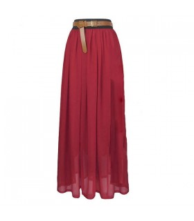 Bordo chiffon maxi skirt