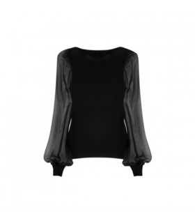 Jersey and chiffon long sleeves blouse
