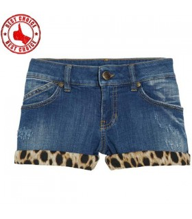 Jeans corto stampa leopardo