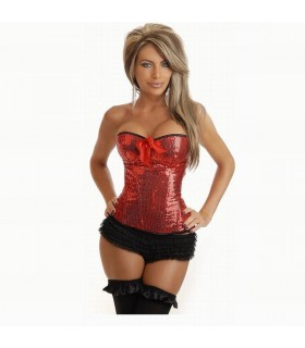 Red sequin burlesque corset