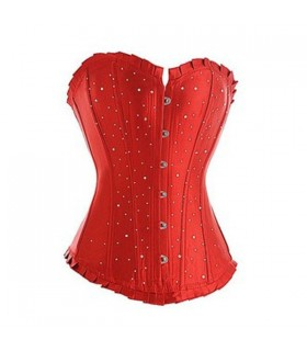 Corset satin rouge strass