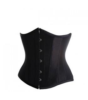 Satin black underbust corset