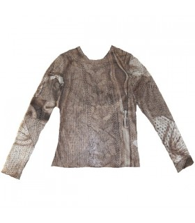 Tulle brown long sleeved blouse