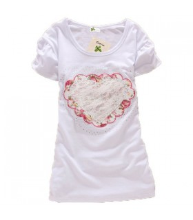 Sweet heart short sleeves top
